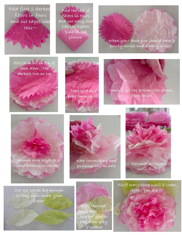 Peony coffee filter flowers tutorial pretty petals mightylinksfo